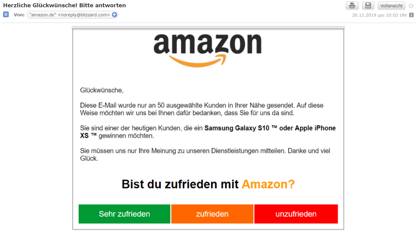 Amazon Umfrage: Achtung Falle