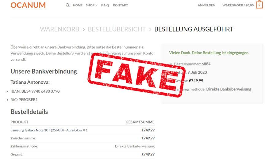 Warnung vor Onlineshop ocanum.de