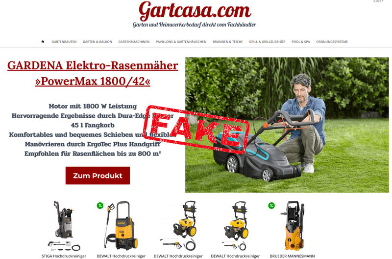 Warnung vor Onlineshop gartcasa.com