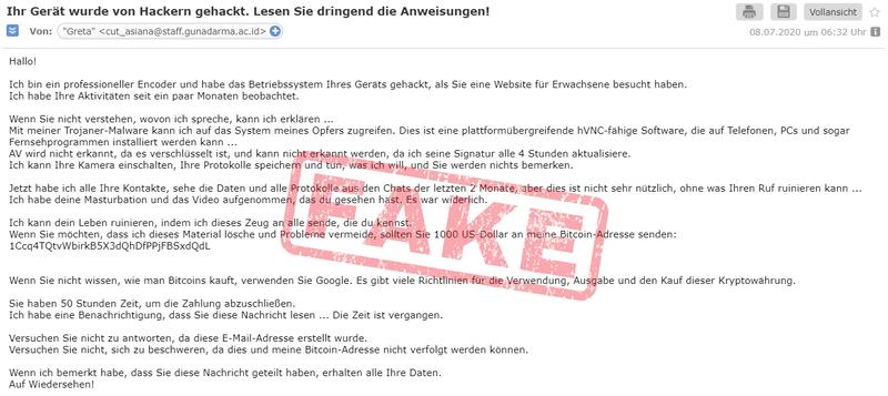 Warnung vor Fake-Mails: Ihr Gerät wurde von Hackern gehackt.
