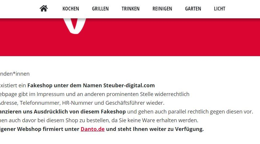 Warnung vor Onlineshop steuber-digital.com
